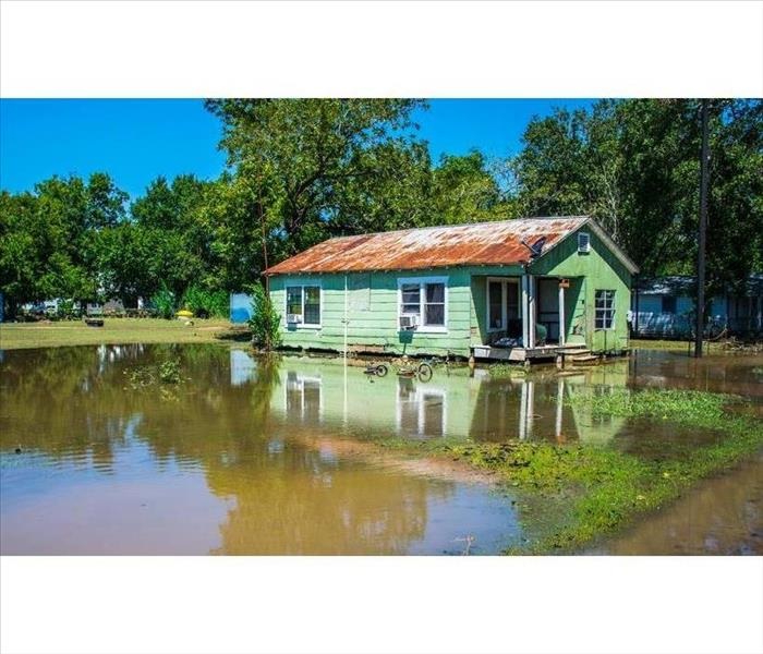 Green house surrounded by flooded water